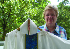Mary Schultz, owner of Exodus39 Custom Church Vestments