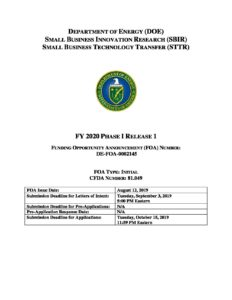 Review the Dept  of Energy SBIR/STTR Funding Opportunity